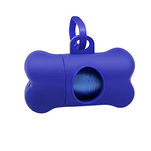 Winstory Bone Dog Cat Poo Waste Dispenser with Bag Scoop Refill Doggy Poop Bags Carrier Clip Blue,Bag Random Color