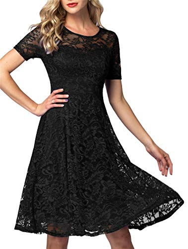 AONOUR Women's Vintage Floral Lace Elegant Cocktail Formal Swing Dress with Short Sleeve Black S