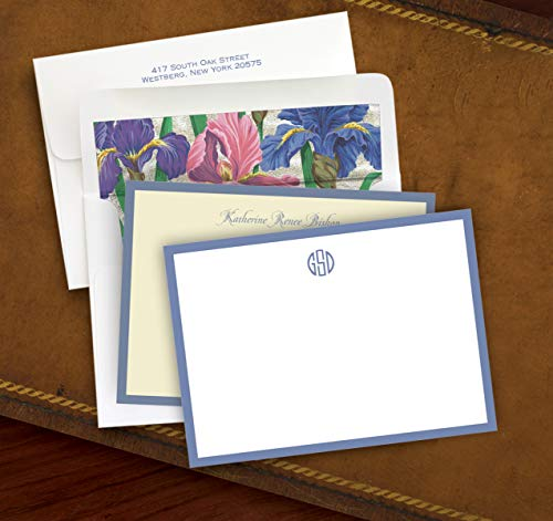 Hand Bordered Correspondence Cards - Wide Periwinkle Hand Bordered Correspondence Cards - Set of 25-3181