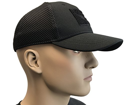 Active Duty Gear Condor Flex Mesh Cap, Black + Flag & Warrior Patch, Fitted  Tactical Operator Hat