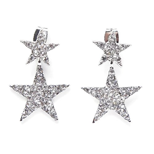 El Vincere Luxury Double Shiny Stars Earrings - Rock Rhinestone Star