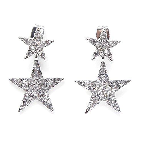 El Vincere Luxury Double Shiny Stars Earrings (White) Dangling Star Earrings