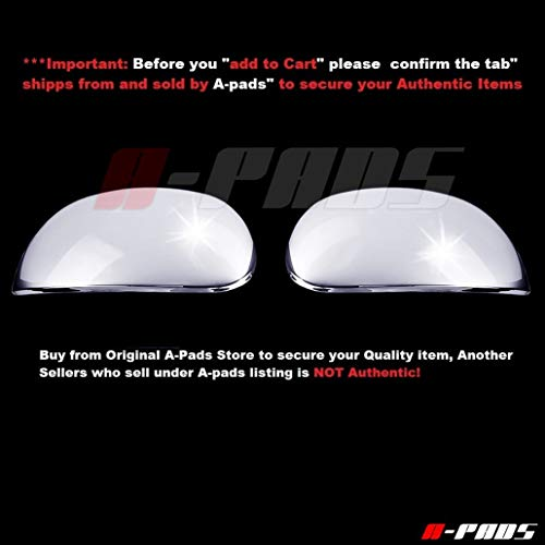 A-PADS 2 Chrome Mirror Covers for Ford F150 1997-2003 + Heritage 2004 / Expedition 97-2002 - Cap Mirrors Pair