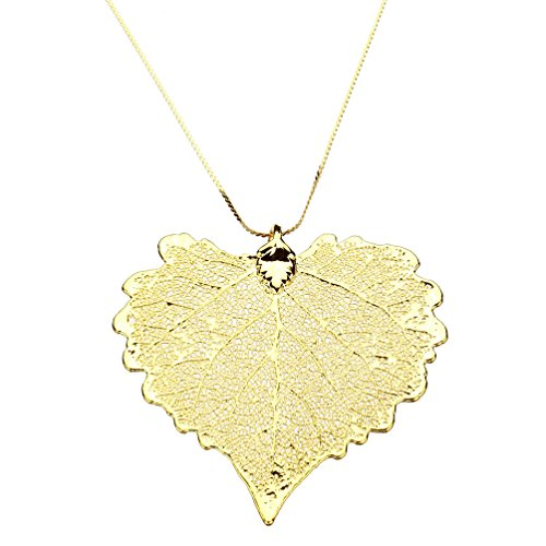 Gold-Plated Cottonwood Leaf Pendant, 18k Gold-Flashed Sterling Silver Serpentine Chain Necklace, (Yellow Gold Serpentine Chain)