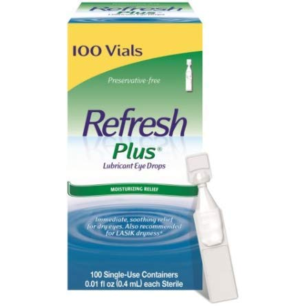 Allergan Refresh Plus Lubricant Eye Drops Single-Use Vials 1 Pack (100 ct) ()