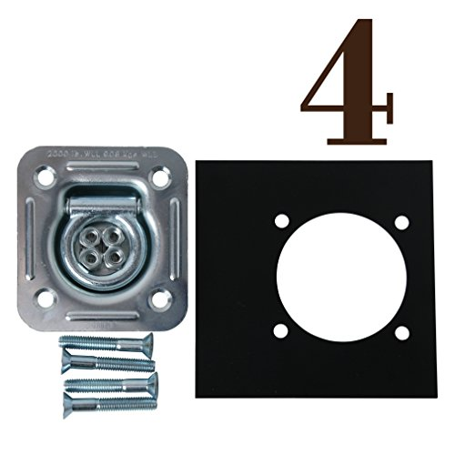 Four Recessed D Ring Cargo Tiedown Anchors w/Mounting Lock Plates & Installation Tie Down Hardware Accessories, Flush Mount Bolts, Hex Nuts, Flat Washers | Square Galvanized Steel
