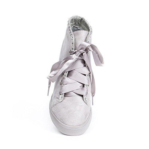 Effet Daim Baskets Ideal Chaînes Lacets Compensées Juliane Shoes et avec Gris Satinés Ruban OxIxqntwfp