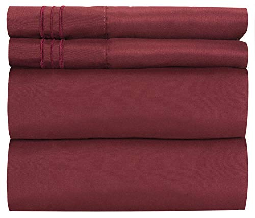 King Size Sheet Set - 4 Piece - Hotel Luxury Bed Sheets - Extra Soft - Deep Pockets - Easy Fit - Breathable & Cooling Sheets - Wrinkle Free - Comfy - Burgundy Bed Sheets - Kings Sheets - 4 PC from CGK Unlimited
