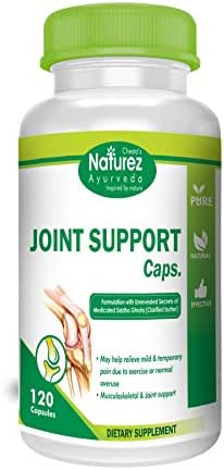 Natural Anti-inflammatory and Advanced Joint Support Capsules 500mg by Naturez Ayurveda Organic Joint Supplement for Knee, Neck, Shoulder, Back and Fingers (120 Capsules)