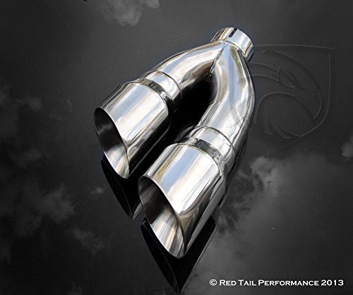 Mina Gallery Exhaust Muffler Tip Dual Round Double Wall Forward Forward Slash Cut Staggered 3