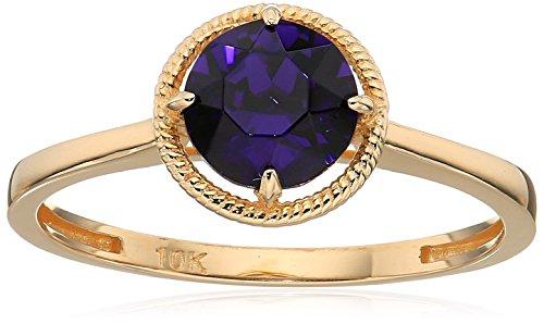 10k Gold Swarovski Crystal February Birthstone Ring, Size 6