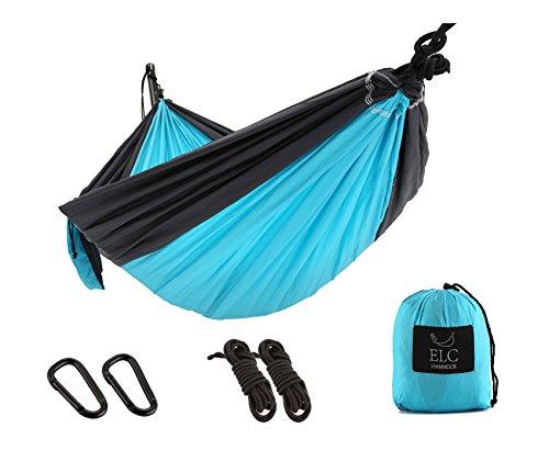 ELC HAMMOCK Camping Hammocks Single Double Hammock Ultralight Portable Nylon Parachute Lightweight Hammocks with Hanging Straps and Carabiners for Hiking, Backpacking, Travel, Beach, Yard by ELC HAMMOCK