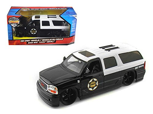 Jada GMC Yukon Denali State Trooper SUV, Black & White Toys Heat 96367 - 1/24 Scale Diecast Model Toy Car (Diecast Gmc Yukon)