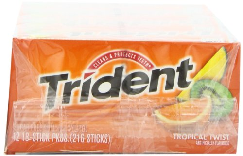 012546619592 - Trident Sugarless Gum, Tropical Twist, 18-Count Packages (Pack of 12) carousel main 4