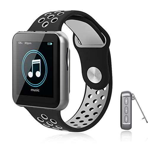 MP3 Player with Bluetooth for Running, 16GB Clip Music Player Watch with FM Radio, Voice Recorder, Pedometer, Support up to 128GB