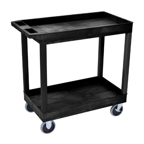 LUXOR EC11HD-B High Capacity 2 Tub Shelves Cart in Black by Luxor