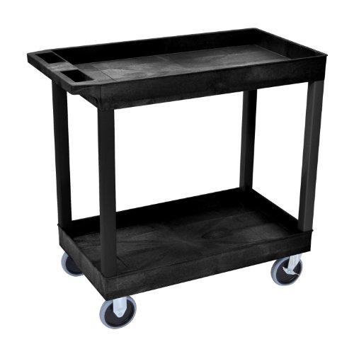 LUXOR EC11HD-B High Capacity 2 Tub Shelves Cart in Black
