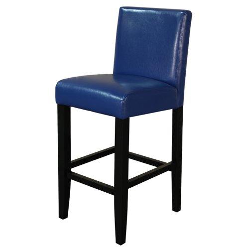 Monsoon Pacific 222211 Villa Faux Leather Counter Stool, Set of 2, Blue