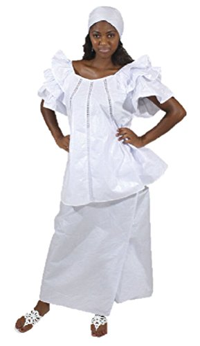 3 Piece White Brocade Pleated Skirt Set - Fits Up To A ()