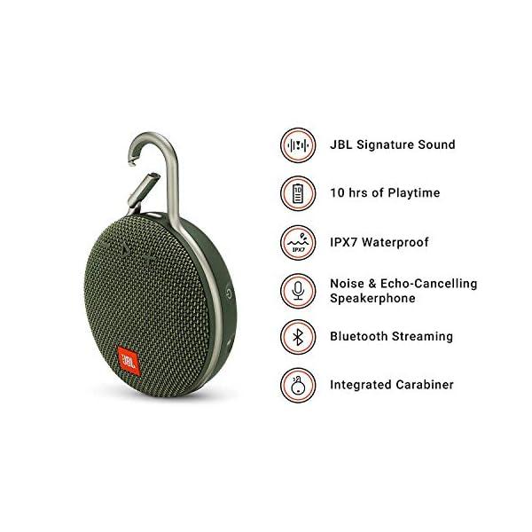 JBL Clip 3 - enceinte Bluetooth Portable avec Mousqueton - Étanchéité Ipx7 - Autonomie 10hrs - Qualité Audio JBL - Vert 2