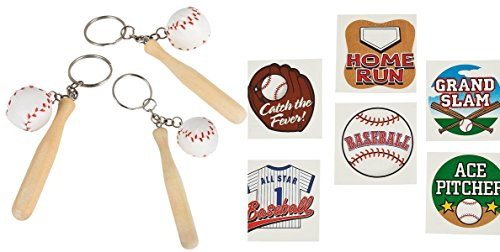 12 - Baseball Keychains with Bat and Ball + 72 Baseball Tattoos - Baseball party favors and toys ()