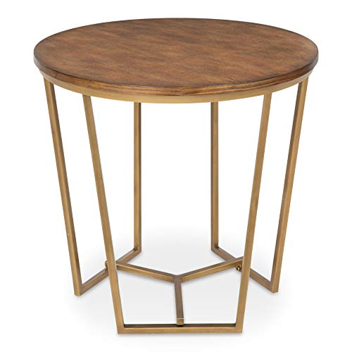 Kate and Laurel Solvay Round Wood and Metal Side Accent Table, Walnut and Gold ()