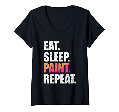 Womens Cute Eat Sleep Paint Repeat Shirt Painting Art Lover Gift V-Neck T-Shirt