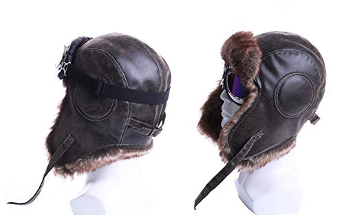 Winter Bomber Hats Plush Earflap Russian Ushanka Trapper Aviator Pilot Hat with Goggles Snow Caps