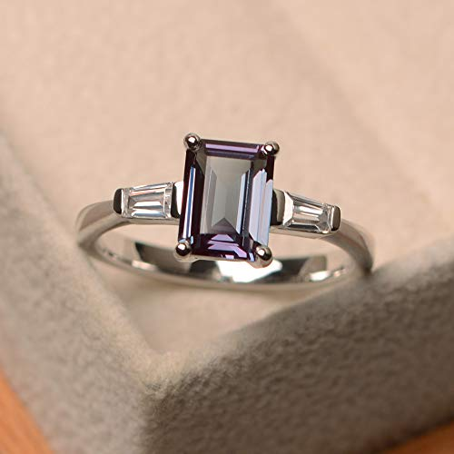 (created alexandrite rings for women emerald cut color changing gemstone sterling silver)