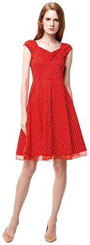 Vídeo de las mujeres cuadrado cuello Vintage Años 50Fiesta Swing Vestido De Dama Dot red