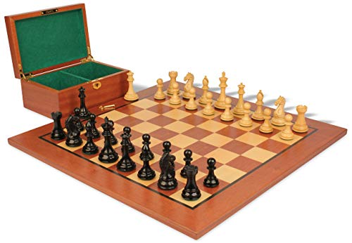 Fierce Knight Staunton Chess Set Ebonized & Boxwood Pieces with Mahogany Board & Box - 3.5