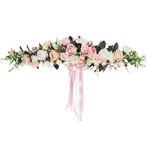 Lvydec Artificial Rose Flower Swag, 25 Inch Decorative Swag with Fake Roses, Green Leaves and Silk Ribbon for Wedding Arch Front Door Wall - Flower 25 Inch