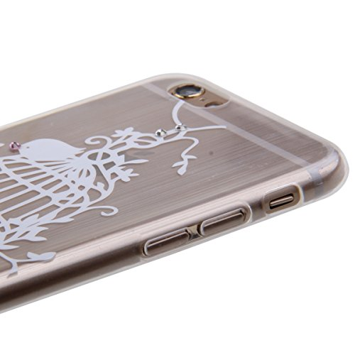 iPhone 6S Case , iPhone 6 Cover - Felfy iPhone 6 / 6S 4,7 pouces Motif mignon blanc Birdcage fleurs incrusté Shining Luxe Brillant Glitter Diamant Ultra Thin Slim souple TPU gel de silicone transparen