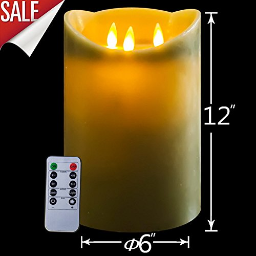 12 inch 3-wicks Flamless Candles with Remote Control & Timer by Milumilu