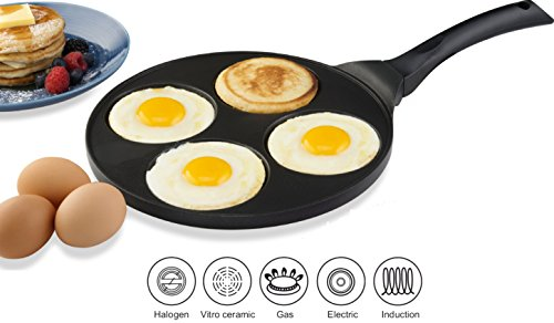 Gourmia GPA9525 Blini Pan With Induction Bottom Nonstick Silver Dollar Pancake Maker With 4-Mold Design 100% PFOA free non-stick coating