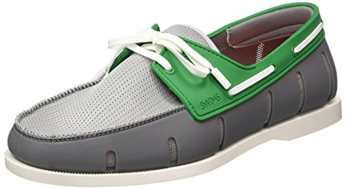 SWIMS Men's Boat Loafers, Gray/Green, 10 D(M) US by SWIMS