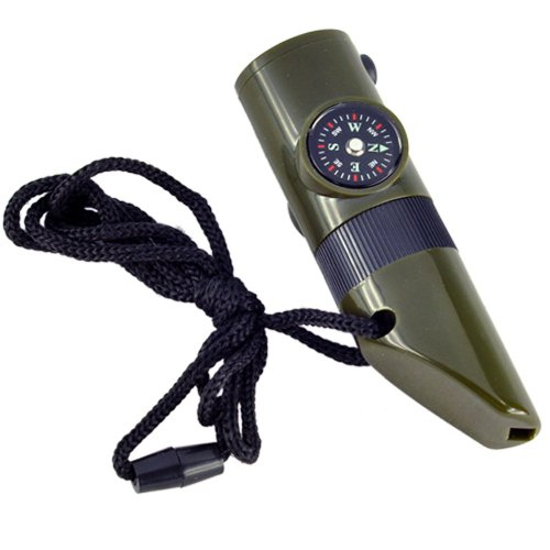 SODIAL(R) 7 in 1 Military Style Emergency Whistle Survival Kit Compass Thermometer LED