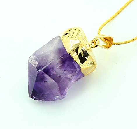 Gold Plate Amethyst Point Pendant