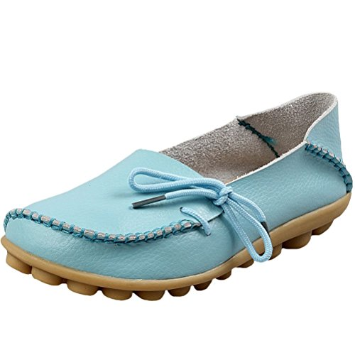 Mordenmiss Casual Effen Kleur Mocassins Lederen Loafer Schoenen Style 1-sky Blue