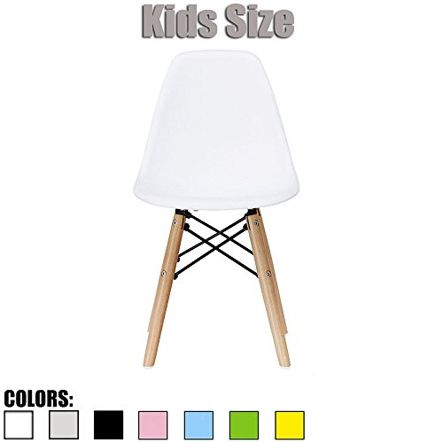 2xhome - White - Kids Size Eames Side Chair Eames Chair White Seat Natural Wood Wooden Legs Eiffel Childrens Room Chairs No Arm Arms Armless Molded Plastic Seat Dowel Leg by 2xhome