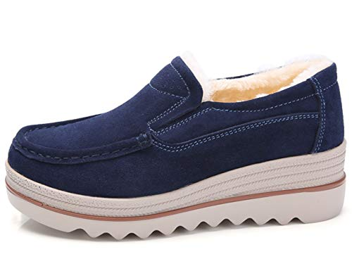 Eagsouni Women Platform Slip On Loafers Suede Casual Moccasins Low Top Wide Toe Mid Heel Wedge Shoes Plus Velvet Blue