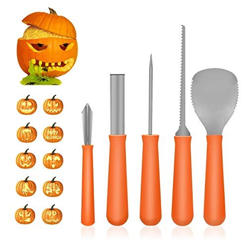 Ezone Professional Pumpkin Carving Tool Kit-Includes 5 Carving Tools And 10 Carving Stencils, Heavy Duty Stainless Steel Tool Set, Used As a Carving Knife For Pumpkin Halloween Decoration ()