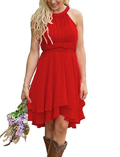 Meledy Women's Bridesmaid Dresses Short Strapless Chiffon Halter Zipper Prom Gowns Red US16