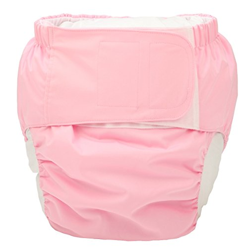 Sigzagor Large Teen Adult Cloth Diaper Nappy Reusable Washable for Disability Incontinence with Hook and Loop for Women (Pink (Large 26in to 50in))