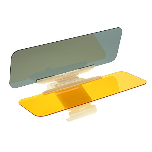TTress Practical Multi-function 2 in 1 Clip-on Eyesight-protecting Mirror Transparent Car Anti-glare Glass Car Sun Visor Extender High Definition Mirro for Day & Night Driving