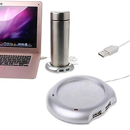 takestop® Calentador de taza vaso USB Eléctrico De 4 puertos USB Hub ordenador portátil y