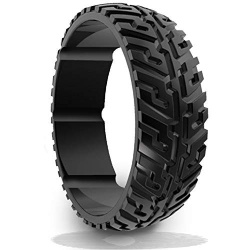 DSZ Silicone Wedding Ring for Men - Breathable Sports Rubber Band for Heavy Duty - Unique Jeep Tire Tread Design with Groove for Extra Comfort - 4 Packs & Singles - Royal Black Gray & Camo Color