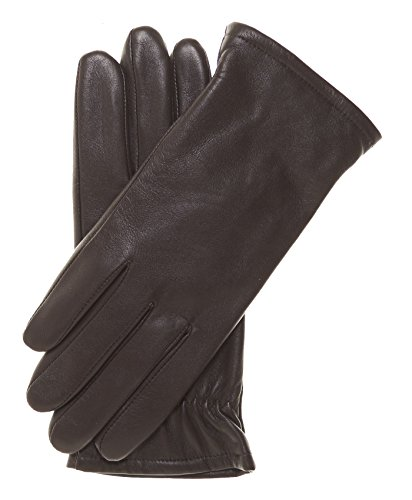 Pratt and Hart Women's Classic Thinsulate Lined Leather Gloves Size 8 Color Brown (Ladies Brown Leather Gloves)