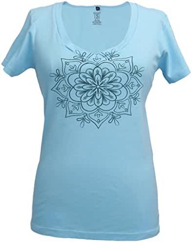 Green 3 Women's Spring Medallion v-neck Organic made in USA tee