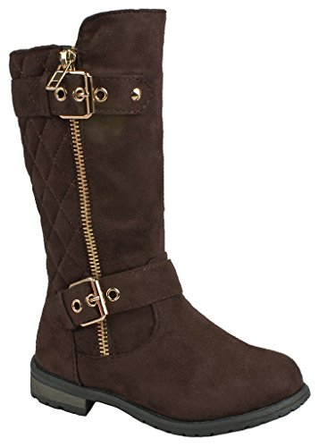 J.J.F Shoes Kids Girls Mango23 Brown Faux Suede Dual Buckle Zipper Quilted Mid Calf Motorcycle Boots-3